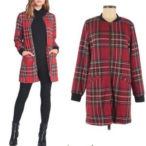 NWT Nordstrom Sanctuary red plaid long jacket